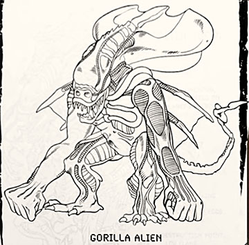 Gorilla Alien simplified art