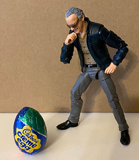 Stan Lee finds a large Cadbury egg