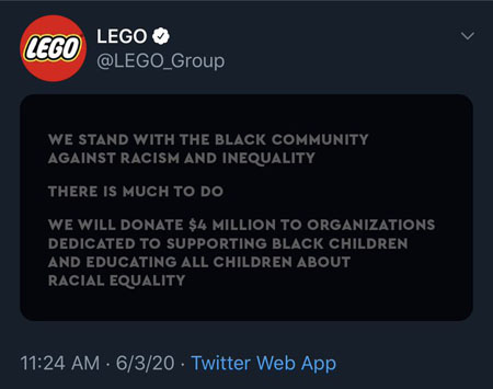 We stand with the black community against racism and inequality.  There is much to do.  We will donate $4 million to organizations dedicated to supporting black children and educating all children about racial equality.