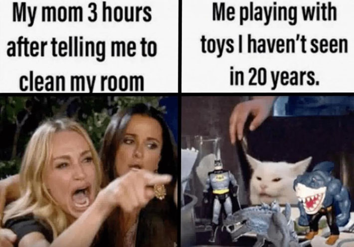 My mom 3 hours after telling me to clean my room (angry woman pointing and yelling) Me playing with toys I haven't seen in 20 years (cat sitting quietly at a table, surrounded by toys)