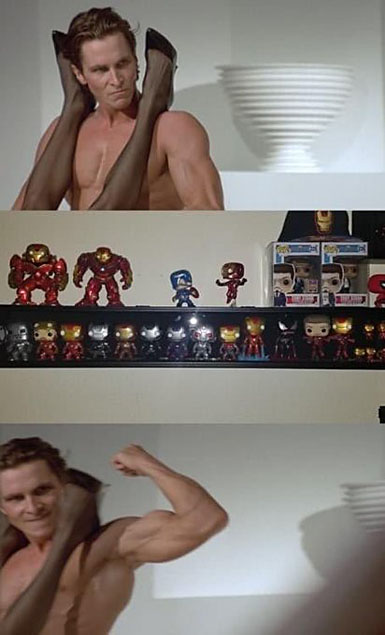 Patrick Bateman from American Psycho is having sex with a woman, looks over at a shelf of Pop figures, and flexes his muscles happily