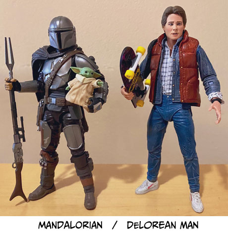 Mando and Marty McFly with the caption 'Mandalorian / DeLorean Man'