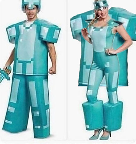 a man in a very square Minecraft costume; a woman in a Sexy Minecraft costume, with the big square men's top hanging behind her back
