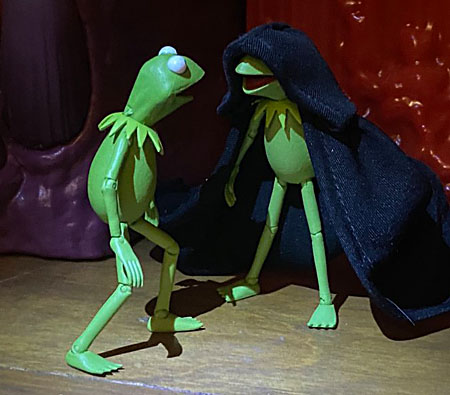 DST's Kermit is confronted by an evil version of himself wearing a black robe