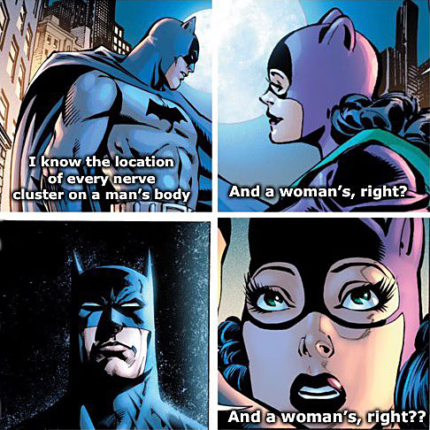 Batman: I know the location of every nerve cluster on a man's body/ Catwoman: And a woman's, right?/ Batman: silent/ Catwoman: And a woman's, right?
